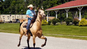 girl riding on light tan colored horse