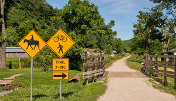 Trail for biking and hiking from removed train tracks